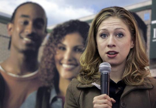 Former first daughter Chelsea Clinton, 28, campaigned for her mother, Senator Hillary Clinton, on Tuesday on the campus of Ivy Tech Community College in Indianapolis.