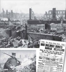 A National Guardsman watches for looters after the fire burned much of Chelsea (top). A 1908 Boston Daily Globe front page (right) reports on the fire.