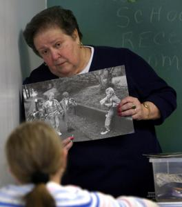 Rose Eames taught children about safety during a religious education class at St. Mary's in Randolph. Most local parishes have employed the 'Talking About Touching' program.