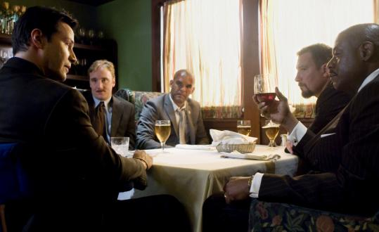 From left: Keanu Reeves, Jay Mohr, Amaury Nolasco, John Corbett, and Forest Whitaker in 'Street Kings.'