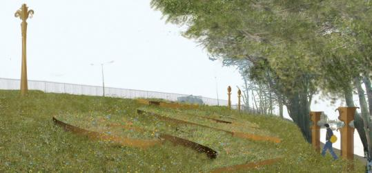 An artist's rendition of what the western end of the Lincoln Green Strip will look like after the meadow fills in.