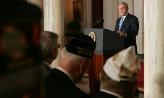 President Bush announced at the White House yesterday that the limited withdrawal of US troops in Iraq would end in July, freezing reductions during a review of the war effort. Bush said he had assured Army General David Petraeus that he would be allowed all the time he needs to make that assessment.