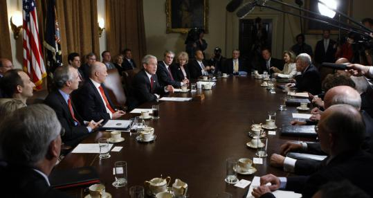 President Bush spoke after a Cabinet meeting in the White House yesterday about the proposed trade deal with Colombia that is languishing.