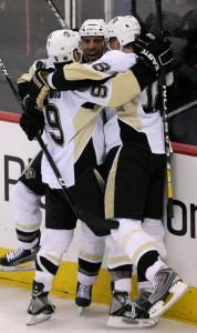 Maxime Talbot was the center of attention after his second-period goal.