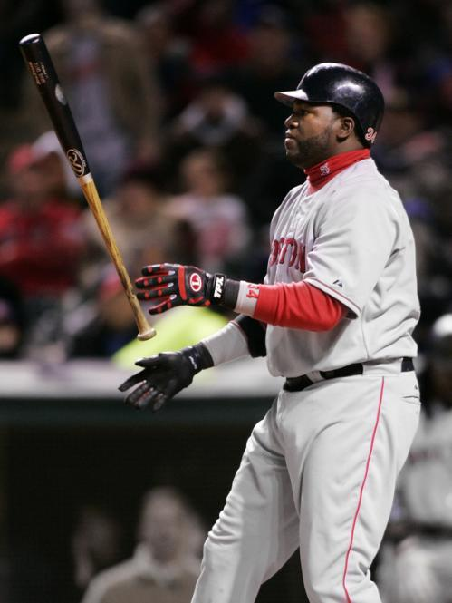 Red Sox designated hitter David Ortiz flips his bat after striking out against Cleveland Indians pitcher Jake Westbrook to end the top of the fifth inning.