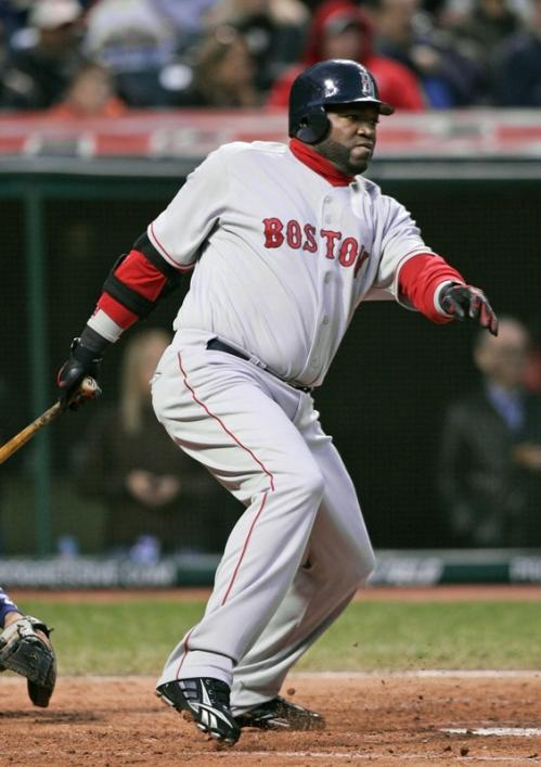 Red Sox designated hitter David Ortiz watches his single off Indians starting pitcher Paul Byrd in the fourth inning.