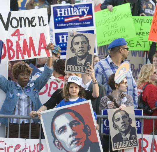 Clinton and Obama supporters rallied outside the Constitution Center in Philadelphia yesterday before a debate between the Democratic presidential candidates.