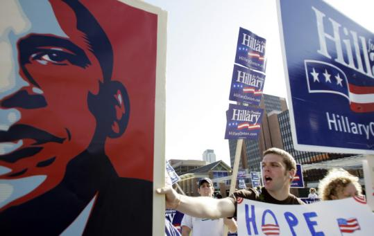 Supporters of Senators Barack Obama and Hillary Clinton rallied outside the venue of last night's Democratic debate.