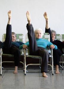 Elders Ensemble dancers (from left) Karen Klein, Betty Milhendler, and Eleanor Duckworth rehearsing.