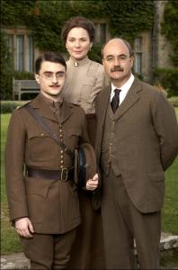 From left: Daniel Radcliffe, Kim Cattrall, and David Haig in 'My Boy Jack,' a story about Rudyard Kipling and his family.