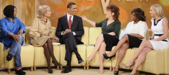 Joy Behar (center, with fellow panelist Whoopi Goldberg) gets prepped to go before the cameras on 'The View.'