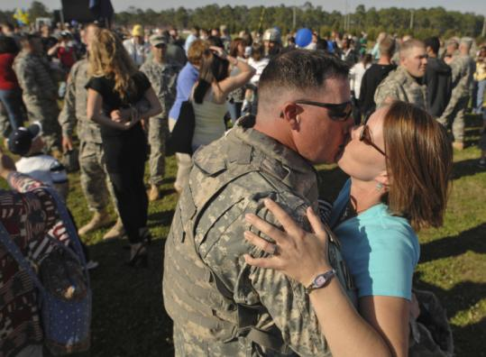 Jackie Smith welcomed her husband, Staff Sergeant Steven Smith of the 1st Brigade Combat Team, 3d Infantry Division, at a homecoming ceremony at Fort Stewart in Georgia.