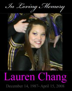 Photographs of Lauren Chang were featured on the Energized Athletics website as a tribute to the late cheerleader.