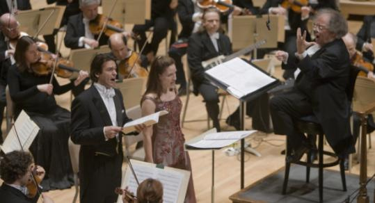 Soloists Nathan Gunn and Kate Lindsey join James Levine and the BSO last night for John Harbison's Symphony No. 5.
