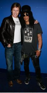 Actor Denis Leary (left) and guitarist Slash of Guns N' Roses Thursday.