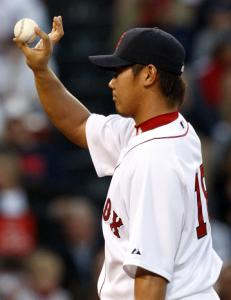 Daisuke Matsuzaka is 4-0, but he lasted just 5 1/3 innings and allowed three runs.