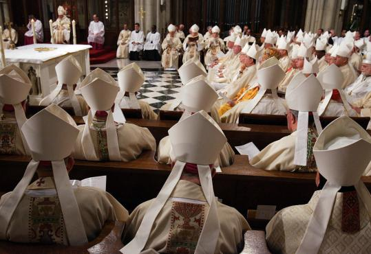 Bishops in miters were among the 3,000 people, mostly members of the Roman Catholic clergy, at yesterday's Mass said by Pope Benedict XVI at St. Patrick's Cathedral in Manhattan.