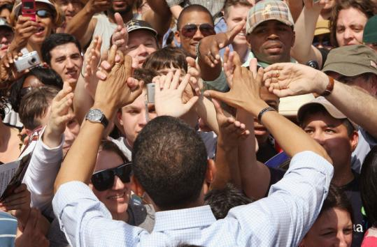 Senator Barack Obama of Illinois greeted supporters outside a whistle stop at the rail station yesterday in Wynnewood, Pa.