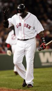 David Ortiz reacts after striking out in the sixth, but he came through later.