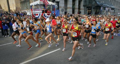 The women were off and running from the starting line, which was located near the traditional finish line of the Boston Marathon, near Copley Square.