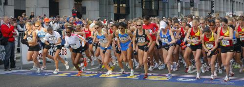 About 162 of the top women's marathon runners in the U.S. competed in the race.