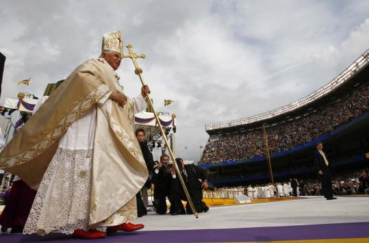 Pope Benedict XVI departed the staging area yesterday after celebrating Mass at Yankee Stadium.