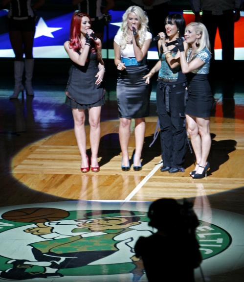 Jada sings the National Anthem before the Celtics-Hawks game at the TD Banknorth Garden tonight.