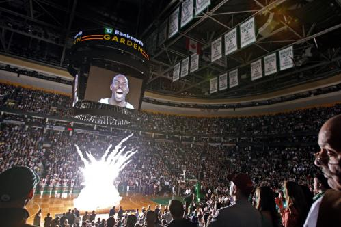 Kevin Garnett screams on the Jumbotron as fireworks explode below before Game 1 of the Celtics-Hawks series at the TD Banknorth Garden Sunday.