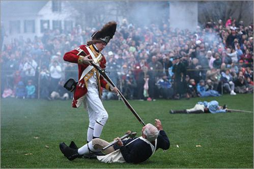 A British soldier attacked Jonas Parker, portrayed by Jim Hart of Lexington.