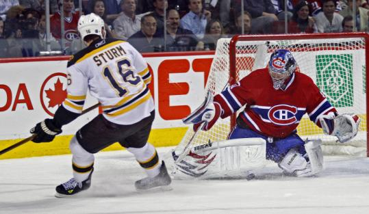 No matter the angle or the Bruin - in this case Marco Sturm - Canadiens goalie Carey Price kept his net free of pucks.