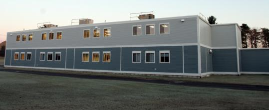 The Parker charter school bought this modular classroom building from Holden's Wachusett Regional High School.