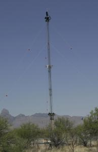 Nine towers set up for the virtual fence on the Mexican border are 98 feet high.