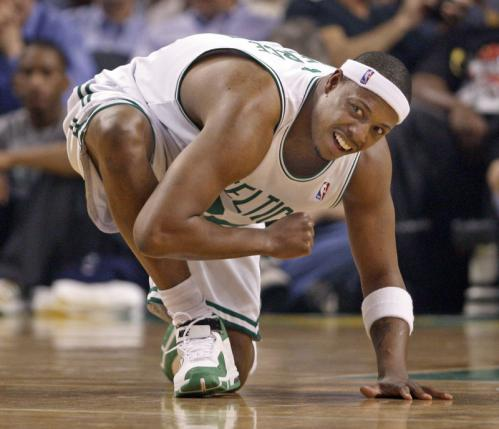 After Paul Pierce was injured early in the game, he went to his knee and tried to stretch out whatever was bothering him. He returned later in the game.