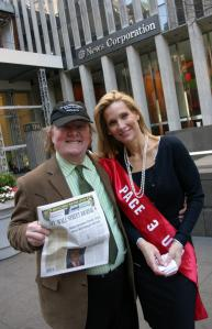 Tony Hendra (above, with an Ann Coulter look-alike) has published a parody newspaper called My Wall Street Journal.