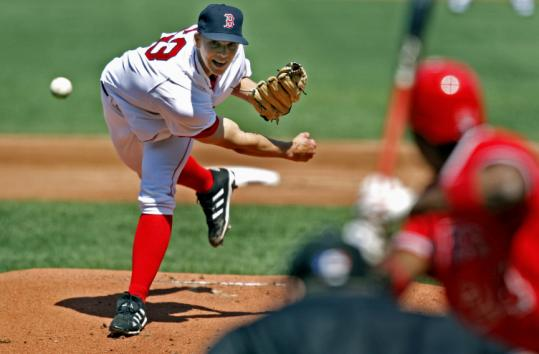 Emergency call-up Justin Masterson allowed one run and two hits in six innings for the Red Sox, and left with a 3-1 lead.