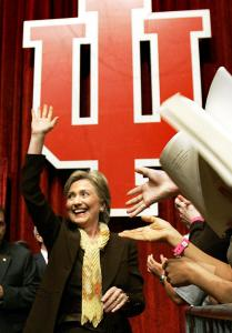 Senator Hillary Clinton got a warm welcome yesterday at a rally at Indiana University in Bloomington.