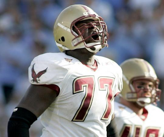Boston College offensive tackle Gosder Cherilus will be doing his roaring for the Lions now; Detroit selected him 17th overall.