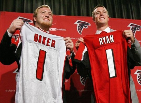 Looking for a clean start, the Falcons introduced their top two picks - USC tackle Sam Baker and BC quarterback Matt Ryan.