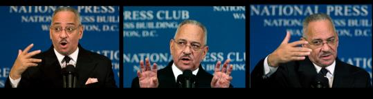 The Rev. Jeremiah Wright, senior pastor of Chicago's Trinity United Church of Christ, at the National Press Club in Washington.