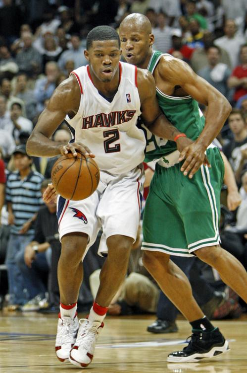 Atlanta's Joe Johnson drives on Boston's Ray Allen.