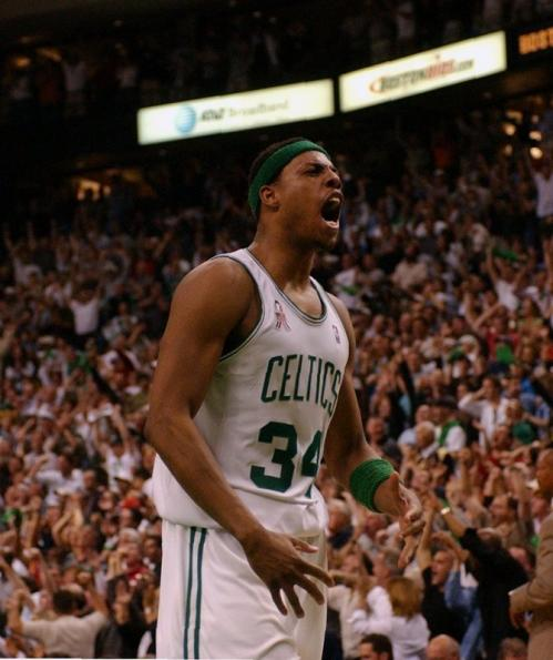 Pierce celebrates a fourth quarter comeback win against New Jersey Nets in Game 3 of the Eastern Conference Finals at the Fleet Center. Pierce sparked the Celtics amazing 26-point comeback, scoring 21 of his game-high 28 points in the second half, 19 of which came in the fourth quarter. The C's lost that series in seven games.