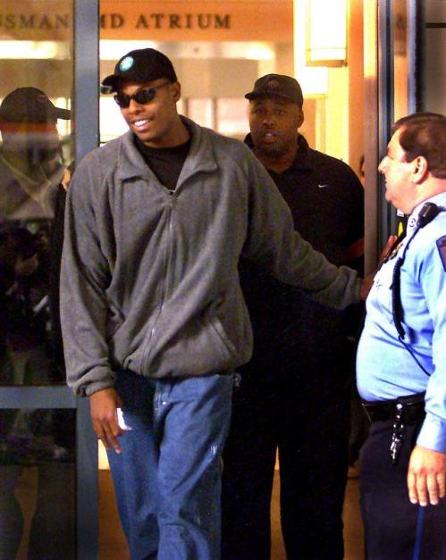 Pierce left the New England Medical Center accompanied by his brother Jamal Hosey (right rear). Pierce was hospitalized after being stabbed multiple times while attending a late night party in a Boston nightclub but returned to the court to play that season. In fact, that season Pierce became the first Celtic to score 2,000 points since Larry Bird completed the feat in 1987-88.