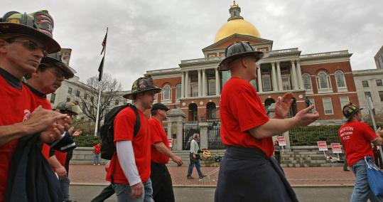 Personnel from across the state attended a rally near the State House as part of the annual lobbying day of the Professional Firefighters of Massachusetts.