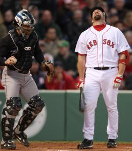Kevin Youkilis's frustrating, hitless night (0 for 4) began with a strikeout in the first inning.