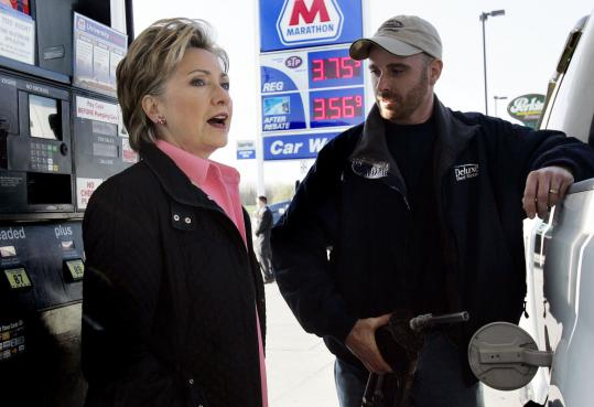 Senator Hillary Clinton picked up the tab after sheet metal worker Jason Wilfing put $63 worth of gasoline, little more than half