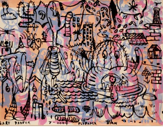 In works such as 'Flypaper, 2004,' Gary Panter uses a limited palette and his outlines don't line up with his colors.