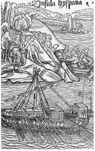 A 1493 woodcut of Columbus's landfall in the New World. Despite popular belief, Horwitz writes, the explorer never set foot on the American mainland.