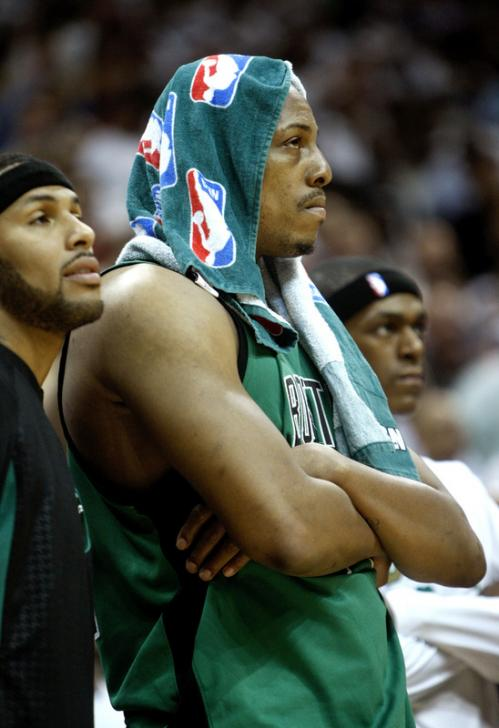 After fouling out of the game, Paul Pierce could only watch from the sidelines down the stretch.