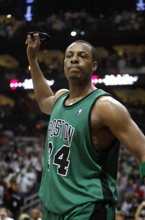 An upset and frustrated Paul Pierce threw his head band after receiving his 6th personal foul and fouling out of the game late in the 4th quarter. Pierce received a technical foul, and the extra point proved costly for Boston.