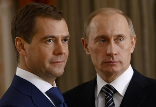 Dmitry Medvedev (left), the first deputy prime minister with no experience in elective office, was the choice for president of Vladimir Putin, who becomes prime minister.